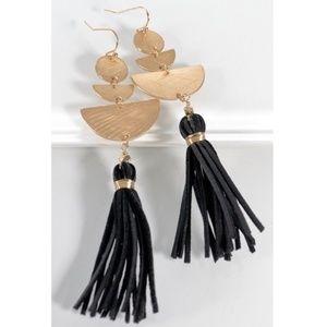 Black and Gold Tassel Earring
